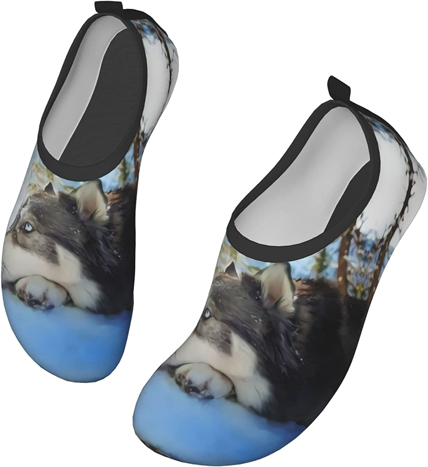 Well-Behaved Snow Wolf Water Shoes Quick Dry Swim Aqua Barefoot Socks for Women Mens Sports Walking Yoga Water Shoes
