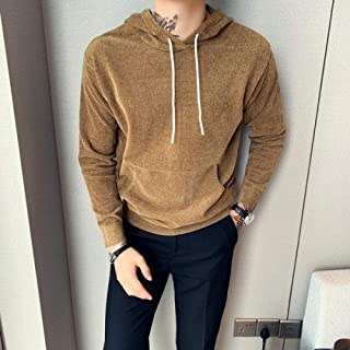 Style Men's Sweater Autumn and Winter Loose Pullover Men's Front Pocket Hooded Sweater Men's Clothing Zzbiao (Color : Khaki, Size : Asian XXL 65-72KG)