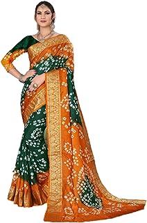 Indian Woman Green yellow Bandhej Art Silk Zari weaving Festival Bandhani Printed Saree Blouse Sari 6317
