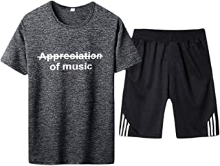 RkBaoye Mens Letter Zip Up Smocked Waist Stitching Relaxed T-Shirt Top + Shorts Pants