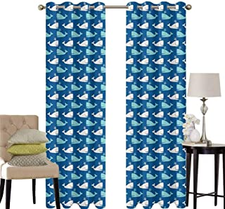 hengshu Whale Living Room Curtains 2 Panel Sets Bicolor Whales in The Sea in Cartoon Drawing Style Underwater Wildlife Home Decor Blackout Curtains W42 x L63 Inch Navy Blue Aqua Beige