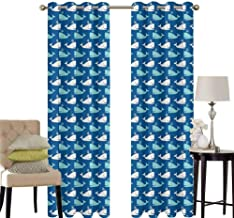 hengshu Whale Patio Door Curtains for Bedroom Bicolor Whales in The Sea in Cartoon Drawing Style Underwater Wildlife Thermal Insulated Noise Reducing W42 x L36 Inch Navy Blue Aqua Beige