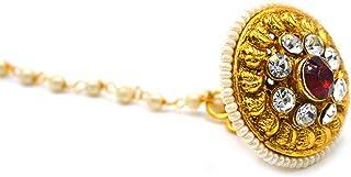 Aashya Mayro Rajasthani Rajwadi AD Crystal Diamond and Maroon Stone Studded, Gold Plated Rajwadi Borla Maang Tikka for Wom...
