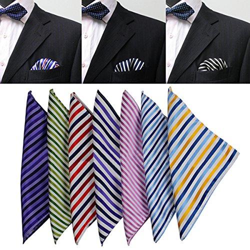 FATO. Streifen-Silk Mens Anzug Einstecktuch Jacquard Weave Handkerchief Seidenschal