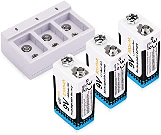 9V Batteries, Keenstone 800mAh 9 Volt Rechargeable Li-ion Battery 3 Pack with 3 Bay Charger