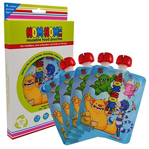 Nom Nom Kids 200ml MONSTER bolsas de comida para bebés y niños reutilizables - 4 pack