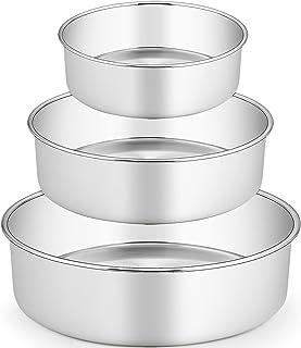 "TeamFar 6 / 8 / 9 Inch Cake Pan, Stainless Steel Round Baking Pan for Cake Brownie Lasagna, Non-Toxic & Heavy Duty, 3"" Dee..."