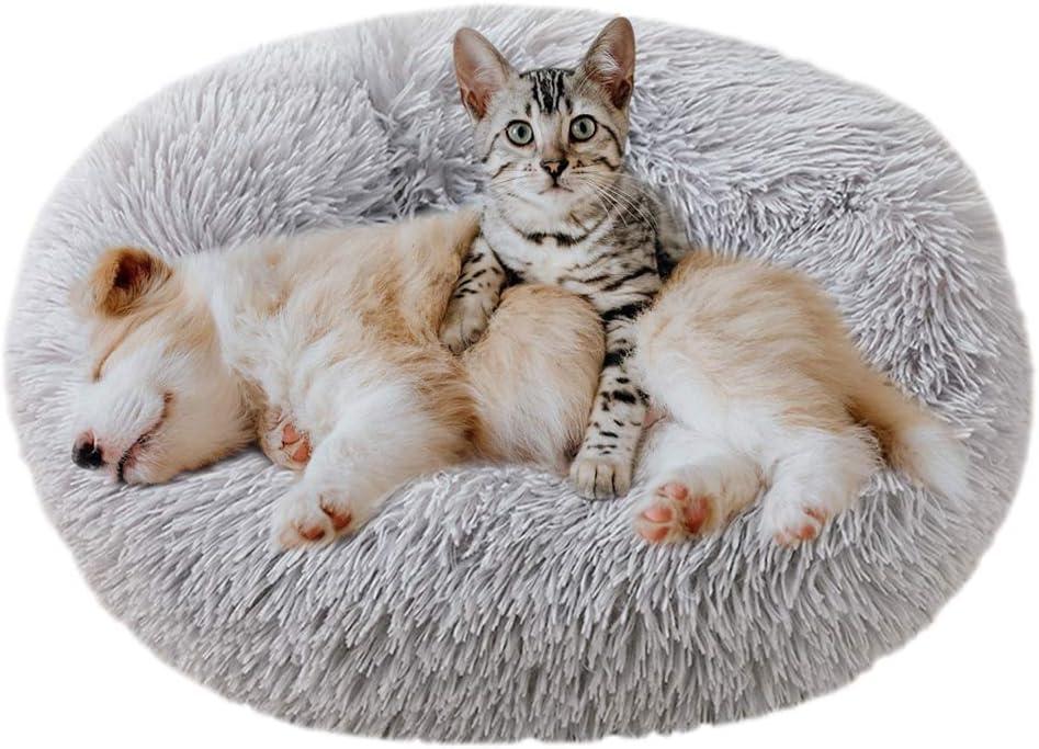 Eastlion Cama Perro Deluxe Felpa Redonda,Plush Cama Calmante Donut Gato Suave Cómoda,Nido Calentito Cojín Lavable para Mascotas Pequeña Gatos y Perros(Gris Claro-Diámetro:70 CM)