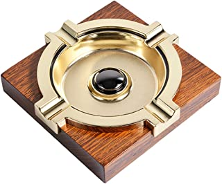 OILP Cigar Ashtray,Metal Wooden Ash Tray for Cigar,Outdoor Indoor Ashtray,Tabletop Decorative Ashtray Suit for Most Ring Gauge Cigars-Square