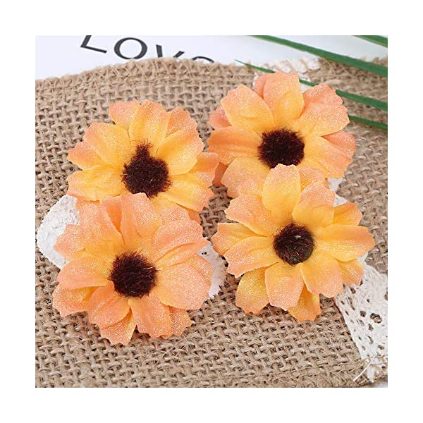 FLOFIA 100pcs Gerberas Artificiales Decoración Margaritas Artificiales Cabezas Flores Falsas de Seda Artificial Tela…