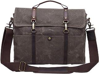 LIUFULING Men's Messenger Bag Waterproof Canvas Leather Bag Leather Shoulder Bag College Large Satchel (Color : Gray, Size : OneSize)