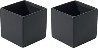 Matte Black Square Vase - Set of 2 - 3.25 x 3.25 Inches - Ceramic Urban Decor Pot - Small Modern Cube Planter for Office or Home