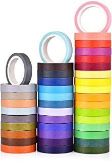 40 Rolls Washi Tape Set,Rainbow Sticker Decorative Masking Tape for DIY Crafts, Bullet Journals,Planners