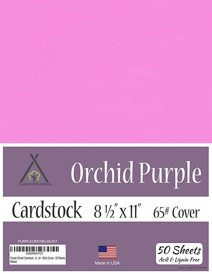 Orchid Purple Cardstock - 8.5 x 11 inch - 65Lb Cover - 50 Sheets