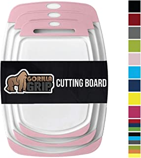 GORILLA GRIP Original Reversible Cutting Board, 3 Piece, BPA Free, Juice Grooves, Larger Thicker Boards, Easy Grip Handle, Dishwasher Safe, Non Porous, Extra Large, Kitchen, Set of 3, White Pink
