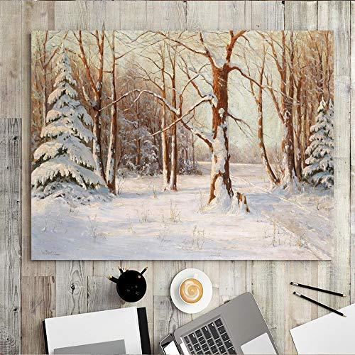 wZUN Decoración del hogar impresión de la Lona Arte de la Pared Pintura rectángulo Horizontal Bosque Pintura al óleo árbol seco en la Nieve 50x70 Sin Marco