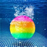 Hiboom Swimming Pool Toys Ball, Underwater Game Swimming Accessories Pool Ball for Under Water Passing, Dribbling, Diving and Pool Games for Teens, Adults, Ball Fills with Water (Rainbow)