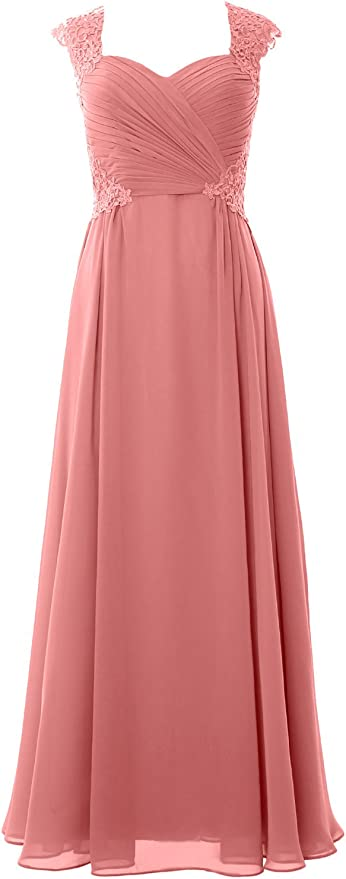 1940s Dress Styles MACloth Women Long Maxi Bridesmaid Dresses Cap Sleeve Lace Evening Gown $139.00 AT vintagedancer.com