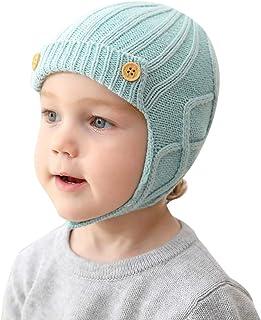 Knitted Hat Pom Beanie Winter Warm Soft Hat Infant Toddler Girls Boys Earflap Beanie Hat