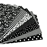 7pcs Black 19.7'x19.7' 100% Cotton Quilting Fabric for DIY Sewing Patchwork