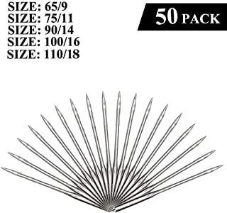 baskuwish Sewing Machine Needles 50 Pieces Home Sewing Needles Size 9, 11, 14, 16, 18 for Singer, Brother, Janome, Varmax (9, 11, 14, 16, 18)