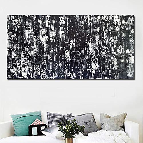 N / A Abstrakte Leinwand Messer Ölgemälde Kunst Schwarz-Weiß-Bild Wohnkultur Druck und Poster Wohnzimmer Rahmenlos 30x60cm