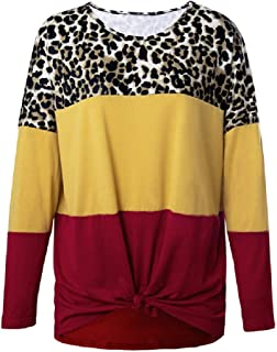 Loyomobak Womens Long Sleeve Color Block Leopard Print Fashion Crewneck Knot Twist Front T-shirt