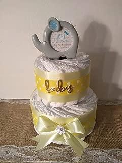 Gender Neutral Elephant Diaper Cake Baby Shower