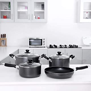 Royalford Cookware Set, Black, Rf492Ncs7, 7 Pieces