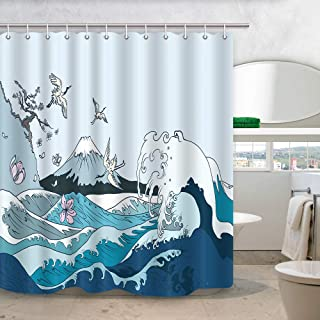 NYMB Ocean Wave Shower Curtain, Cherry Blossoms Flowers and Birds on Japanese Big Sea Wave at Vintage Fuji Mountain Bath Curtains, Waterproof Fabric Bathroom Accessories 12PCS Shower Hooks, 69X70 in