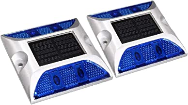 X-DREE 8pcs LED Solar Road Stud Light Marker Lighting Security Warning Lamp 4LED Blue (70a79066-a222-11e9-8d7c-4cedfbbbda4e)