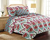 Cozy Line Home Fashions Happy Garden Bedding Quilt Set, Fuchsia Pink Flowers Print Pattern 100% Cotton Reversible Coverlet Bedspread for Kids, Girls (Fuchsia Flowers, Queen - 3 Piece)