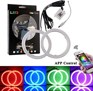 EverBright 1Set 90MM RGB Car Angel Eyes Halo Rings, Smart Phone iOS Android App Bluetooth Control Multil-Color Led COB Light Circle Ring Headlight Lamp Light with Housing 12V