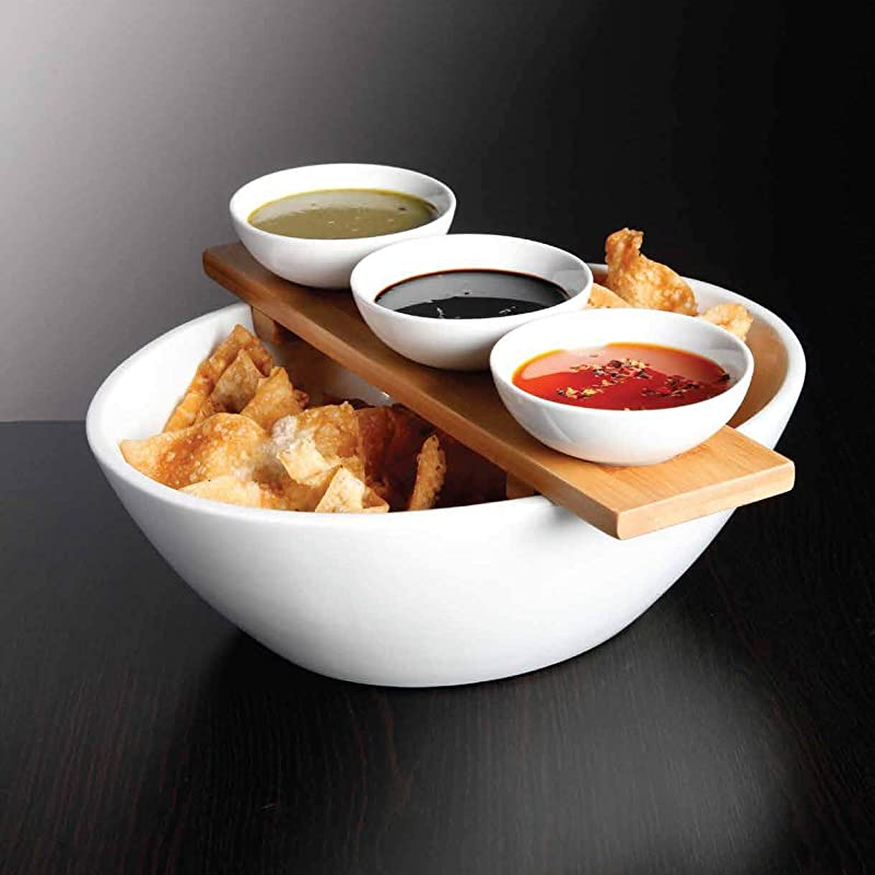 Le Raze Elegant Chips And Dip Serving Bowl Ceramic Condiment Dip Sauce Ramekins Set Elegant 5 Piece Serving Set With White Bowls Bamboo Tray