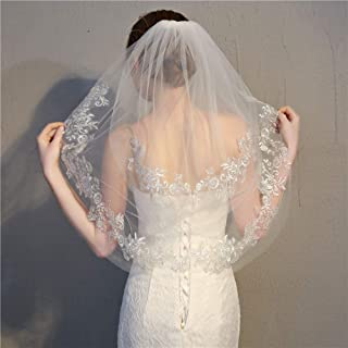 Wedding Veil,Ivory/white Bridal Veil,European and American double-layer short paragraph with hair comb beautiful silver lace lace veil,Wedding photography stencil