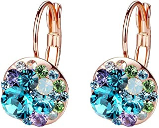 Multicolored Swarovski Crystal Earrings for Women Girls 14K Gold Plated Leverback Dangle Hoop Earrings (Blue Green Crystal...