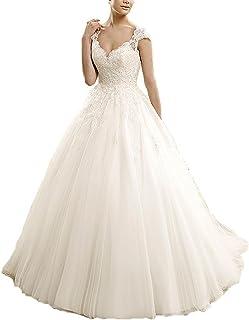 6e29bf9597a Carnivalprom Robe de Mariage Princesse Sexy Backless Fleurs Dentelle  Elégante Robe de Soirée Cérémonie