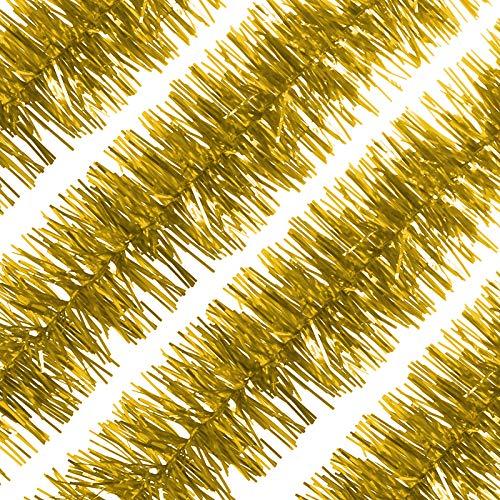 LIHAO 4 Stück Weihnachtsgirlande Lametta Girlande Metallisch Lametta Girlande Glänzend Weihnachtsbaumschmuck für Geburtstag Party, Weihnachten, Dekorationen (Gold)