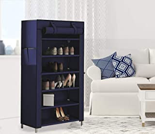 PYXBE 1-Door 6-Shelf Non-Woven Collapsible Shoe Stand (Navy, 6 Shelves, Cabinet(Do-It-Yourself) Shoes rack