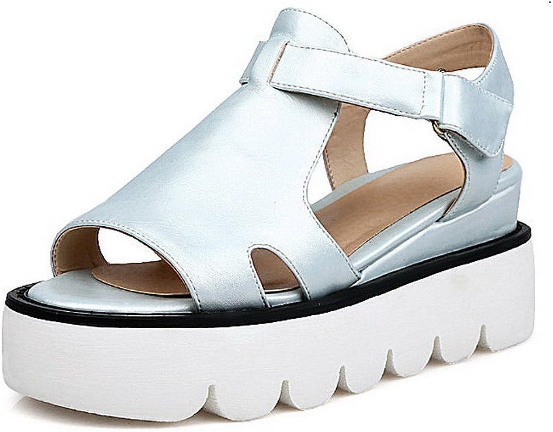 WeiPoot Women's Solid Soft Material Kitten-Heels Hook-and-Loop Open-Toe Sandals