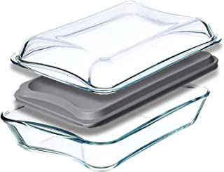 Simax Casserole Dish For Oven: Glass Baking Dish Set With Lids - Large Oblong Rectangular Bakeware and Cookware - Great fo...