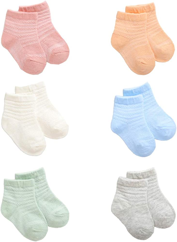 Toddle Socks, TINGOBABY Unisex 6 packs Cotton Baby Socks Different Color Candy Kids Socks for Kids and Baby (12-24Months)