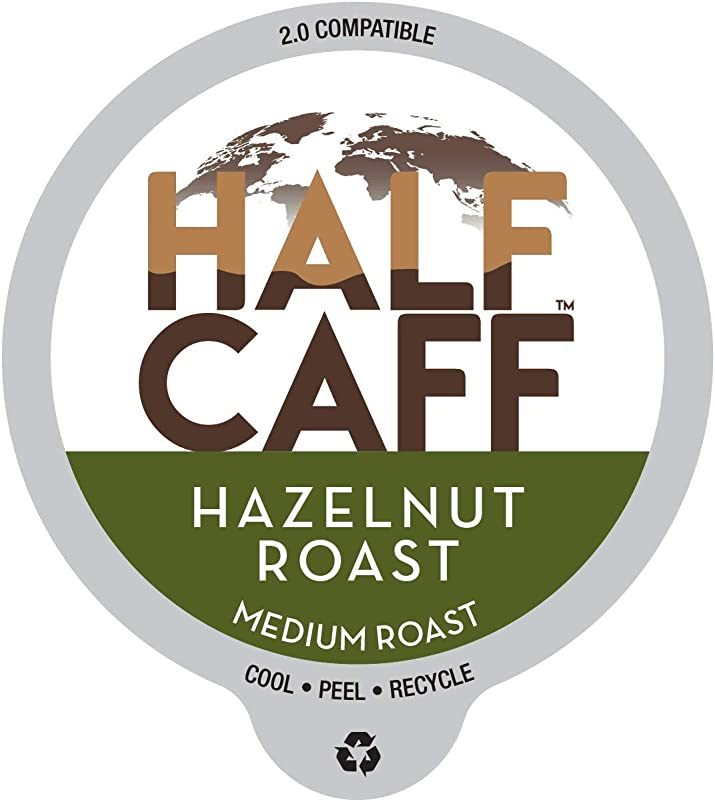 World S Best Half Caff Hazelnut Flavored Coffee 100ct Recyclable Single Serve Coffee Pods Richly Satisfying Arabica Beans California Roasted K Cup Compatible Including 2 0