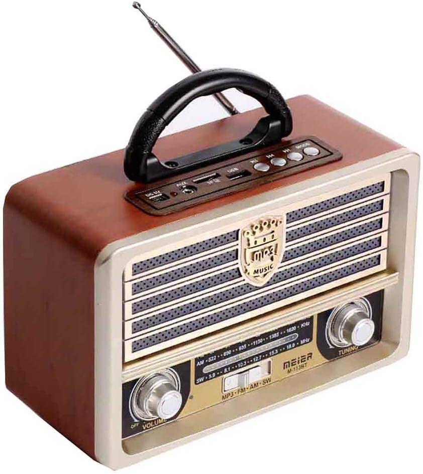 Radio Retro De Madera, Radio Am SW FM, Altavoz Inalámbrico Bluetooth 4.0, con Estilo Antiguo, Bajos Fuertes, Mini Audio Al Aire Libre Volumen Alto,A
