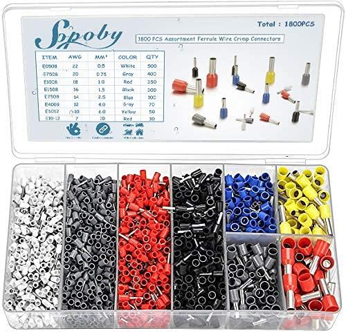 Sopoby 1800 Stück Crimpzangen Aderendhülsen Set, Kabelschuhe Tool Kit 0,5-10 mm² für isolierte, unisolierte Drahtseil Ratschenkabelschuhe(Ohne Crimpzange)