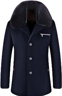 GAGA Men's Winter Fur Collar Wool Pea Coat Suit