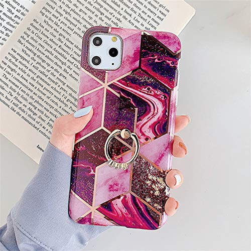Bakicey iPhone 12 Pro Max Hulle iPhone 12 Pro Max Marmor Handyhulle mit 360 Grad Ring Stander Ultra Dunn Soft Silikon TPU Bumper Stosfest Case Anti kratzt Schutzhulle fur iPhone 12 Pro Max 23