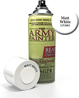 The Army Painter Color Primer, Matt White, 400ml, 13.5oz - Acrylic Spray Undercoat for Miniature Painting