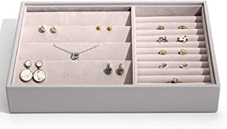 Vlando Miller Jewelry Trays-Earrings Storage,Multiple Color Combinations, Large Capacity Multi-Layer Design and Fashion(Grey)