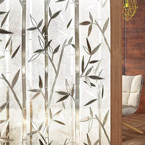 Vinilo para Ventana Privacidad Lámina Adhesiva Pegatina Translúcida Adhesiva Decorativa del Vidrio Autoadhesiva Esmerilado Control de Calor y Anti UV Bosque de bambú 44.5*200CM